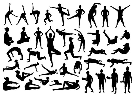 fitness men: Siluetas de la aptitud
