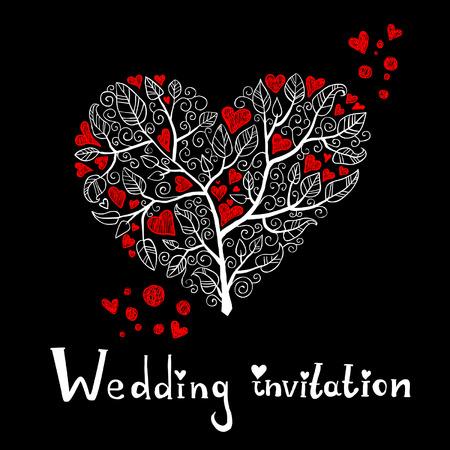Wedding Invitation with Hearts Tree