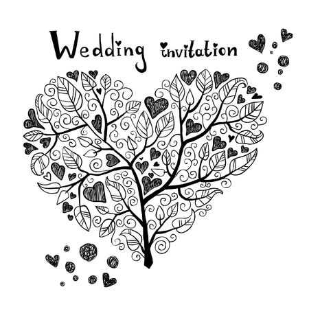 Mano invitación de la boda Dibujado Ilustración de vector