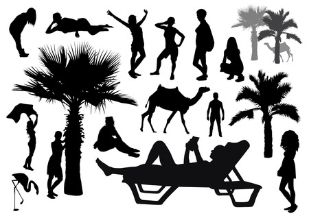 sexy black woman: Set of beach silhouettes