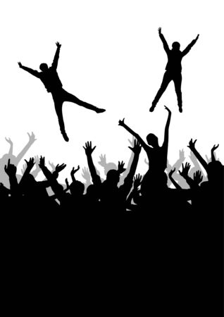 concert audience: Jumping crowd Illustration