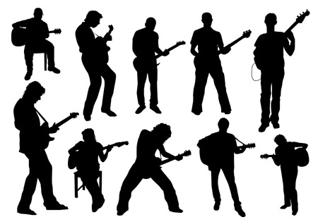 musician silhouette: Guitarists Silhouettes Illustration