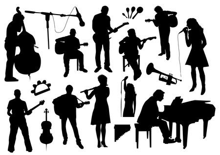 violoncello: Musicisti Silhouettes Vettoriali