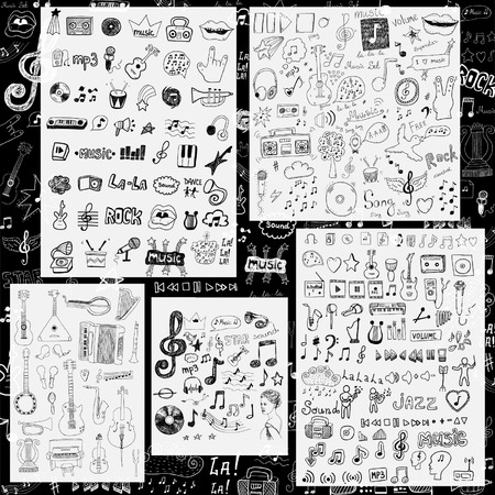 vintage music background: Music symbols and signs