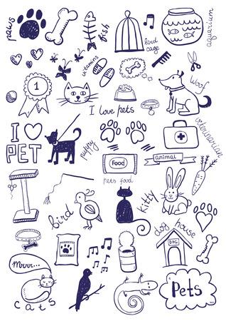 Pets Doodles Vector