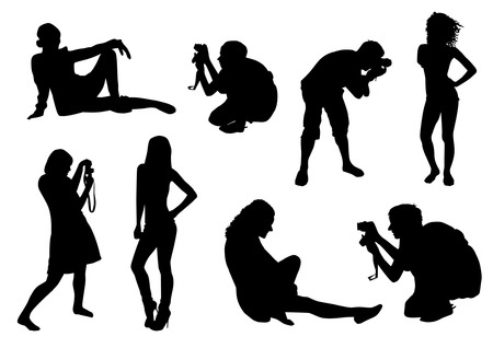 Models and Photographers Silhouettes Vector