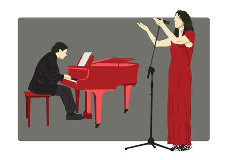 operetta: Pianist and Singer Illustration