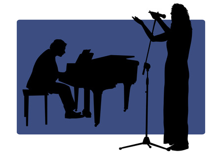 Pianist and Singer Silhouettes Vector
