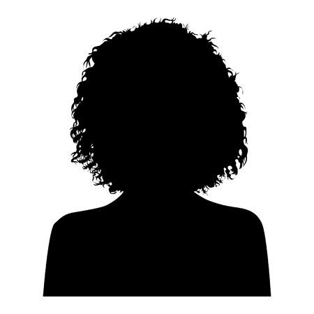 cabello rizado: Mujer principal Silueta Vectores