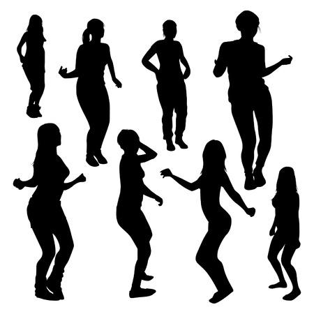 tight body: Dancing girls silhouettes Illustration