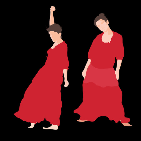 latina: Silhouette of woman in long red dress