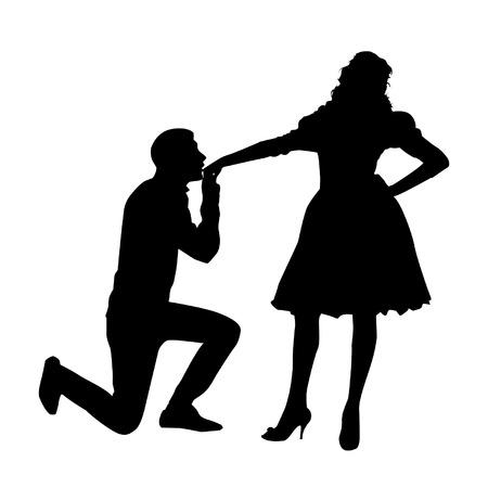 Hand küssen Silhouette