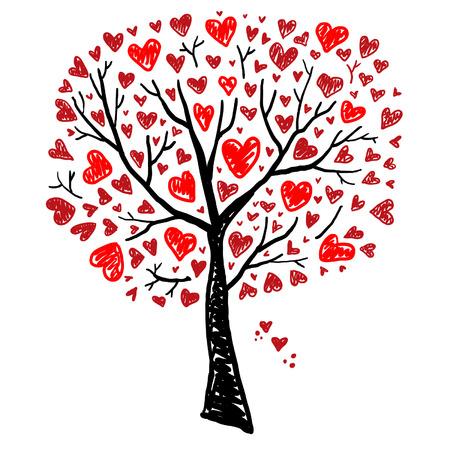 arbol genealógico: Árbol con los corazones Vectores