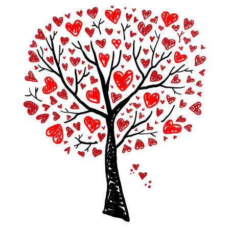 Tree with Hearts Ilustracja