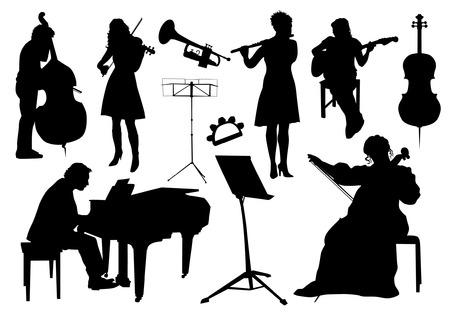 violines: Siluetas Orchestra Vectores