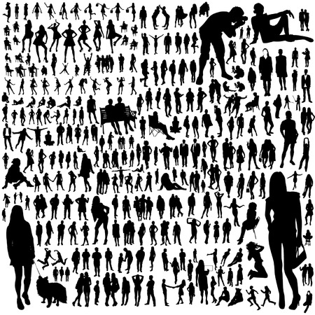 business people walking: Set of people silhouettes Illustration