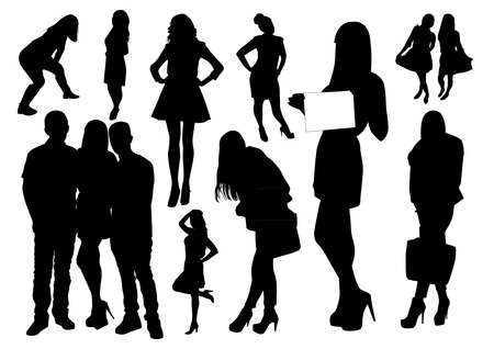 woman profile: Set of people silhouettes Illustration