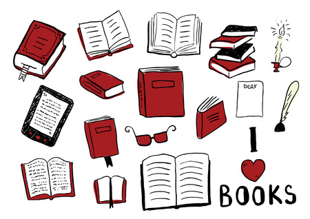 Set of books doodles Vettoriali