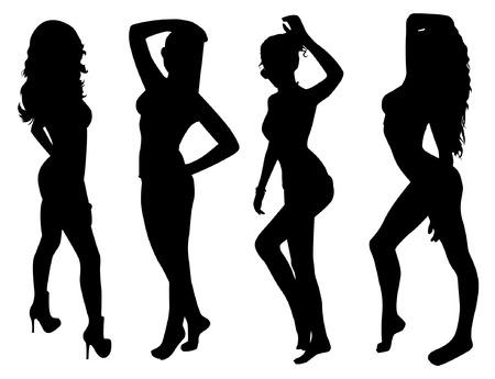 Poseren vrouw silhouetten Stock Illustratie