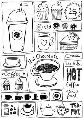 afternoon cafe: Caf� y t� bocetos Vectores