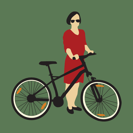 handlebar: Girl with bike Illustration