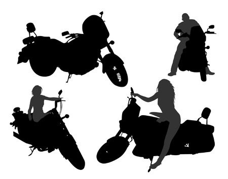 motor bikes: Motorcycle silhouettes