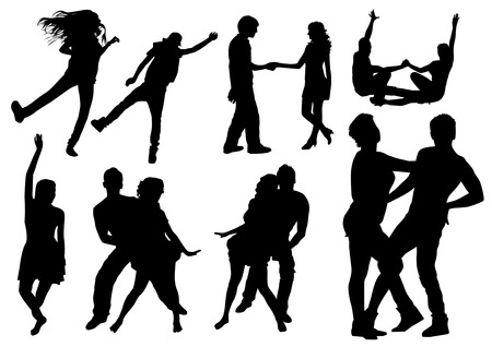 bailando salsa: Siluetas de baile