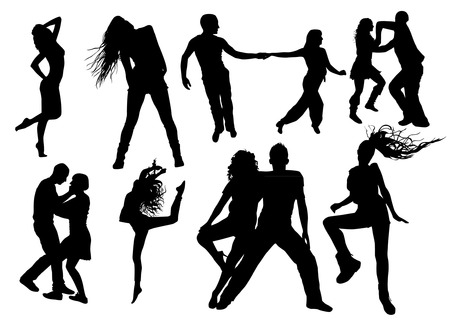 hands on hips: Dancers Silhouettes Illustration
