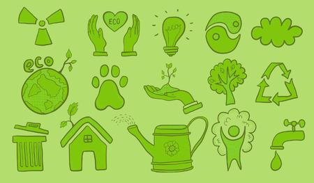 ecological problem: Eco symbols Illustration