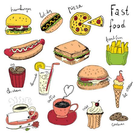 Fast Food Doodles Illustration
