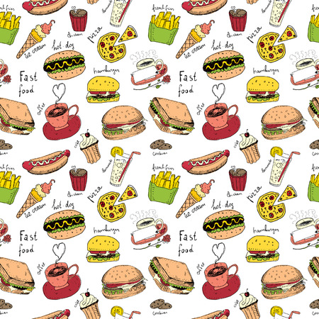 Fast Food Doodles. Seamless pattern Vector