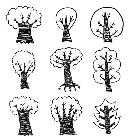 bush babies: Hand drawn trees