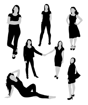 black woman: Woman black and gray silhouettes