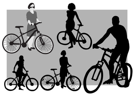 bicyclists: Bicyclists Silhouettes