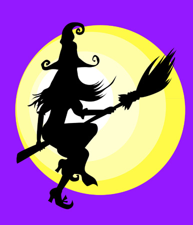 fly cartoon: Halloween Witch Illustration