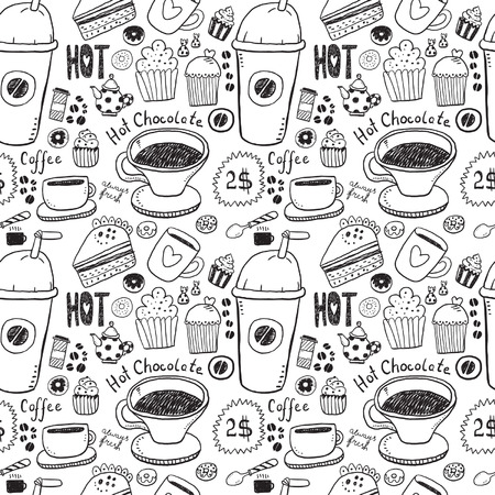 cheesecake: Coffee and Tea Seamless Background