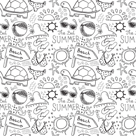 summer clothes: Summer sketches seamless background