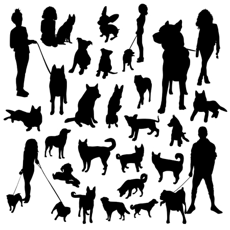 dog park: Set of dogs silhouette