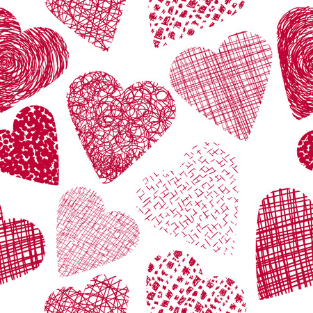 Hand drawn hearts seamless background