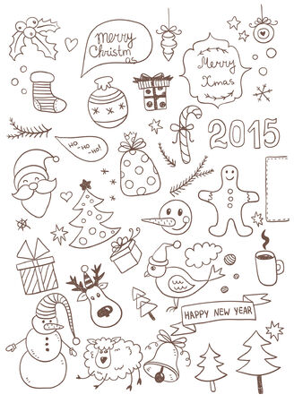 Set of New Year Doodles Vector