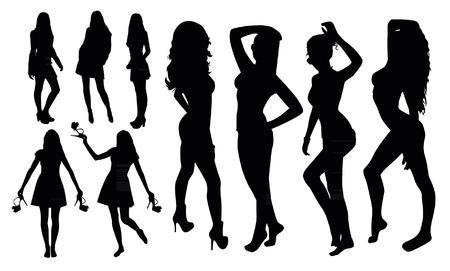 Meisje Silhouettes Stock Illustratie