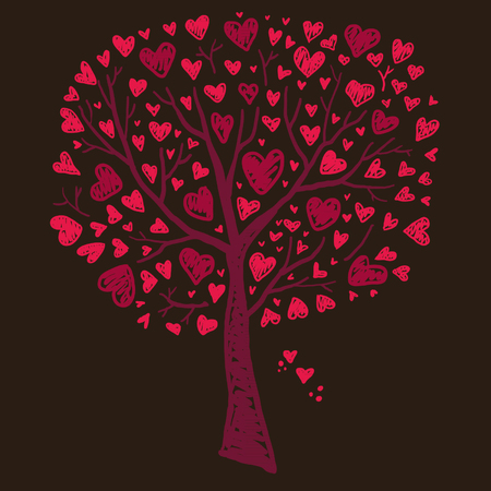 valentine s day background: Tree with Hearts Illustration
