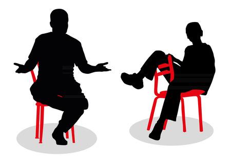 sitting people: Sitting people silhouettes Illustration