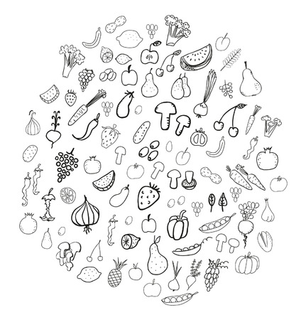 grapes and mushrooms: Vegetable and fruit doodles