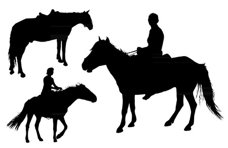 Set of vector horses silhouettes Vector