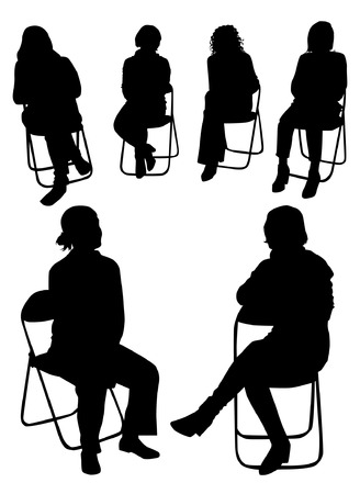 young woman sitting: Sitting people silhouettes Illustration