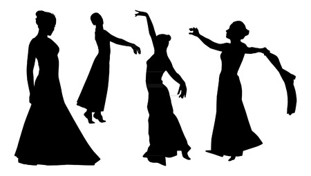 lyrical dance: Dancing Woman Silhouettes