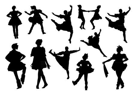 folk dancing: Silhouettes of folk dancers