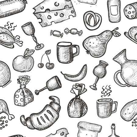 Hand drawn food objects seamless background
