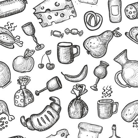 Hand getrokken voedsel voorwerpen naadloze achtergrond Stock Illustratie